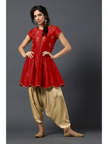 Designer and Beautiful Red Color Short Kurtis with Patiala Bottom
