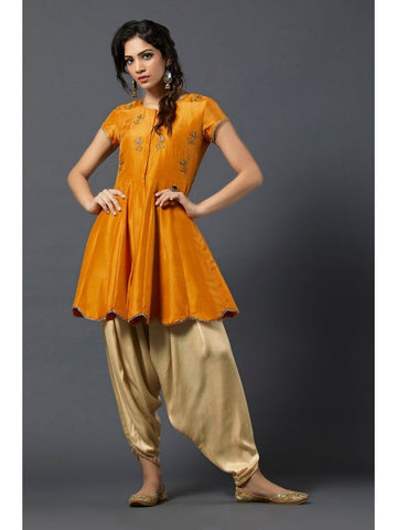 Designer and Beautiful Orange Color Short Kurtis with Patiala Bottom