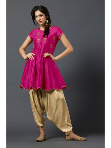 Designer and Beautiful Pink Color Short Kurtis with Patiala Bottom