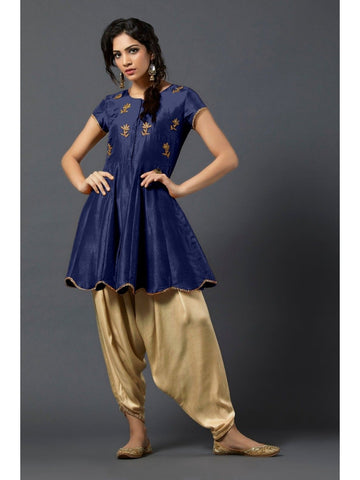 Designer and Beautiful Blue Color Short Kurtis with Patiala Bottom