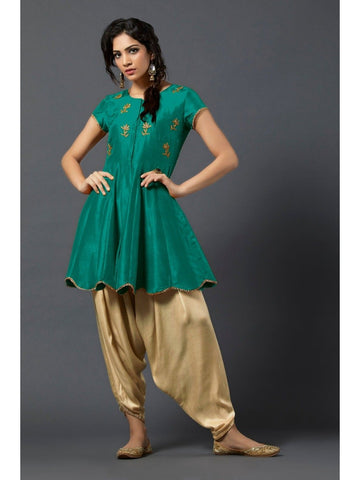 Designer and Beautiful Green Color Short Kurtis with Patiala Bottom