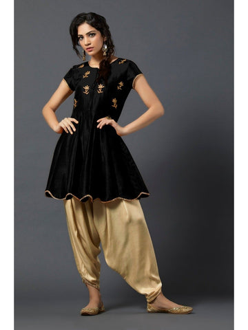 Designer and Beautiful Black Color Short Kurtis with Patiala Bottom