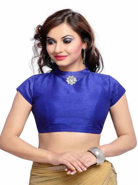 Royal Blue High Neck Blouse - PurpleTulsi.com  - 1
