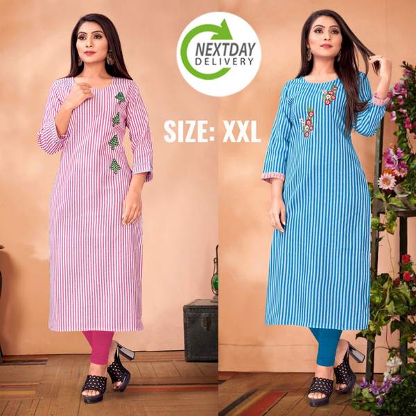 Multi Color Straight Cut Kurti Combo(Pack of2)