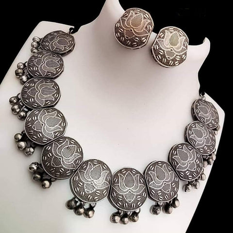 Beautiful Silver Plated Oxidised Jewellery Set