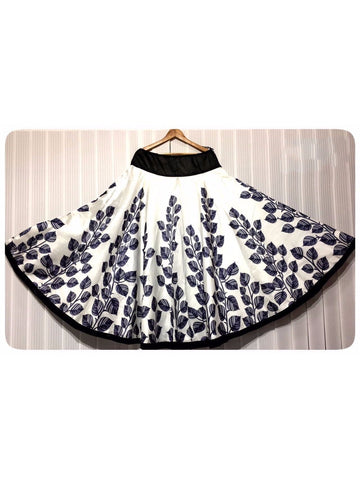 Beautiful Designer Printed Black and White Color Banglori Satin Skirts