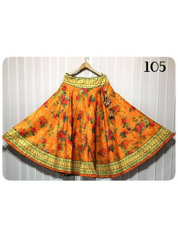 Beautiful Designer Printed Yellow Color Banglori Satin Skirts