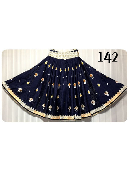 Beautiful Designer Printed Black Color Banglori Satin Skirts