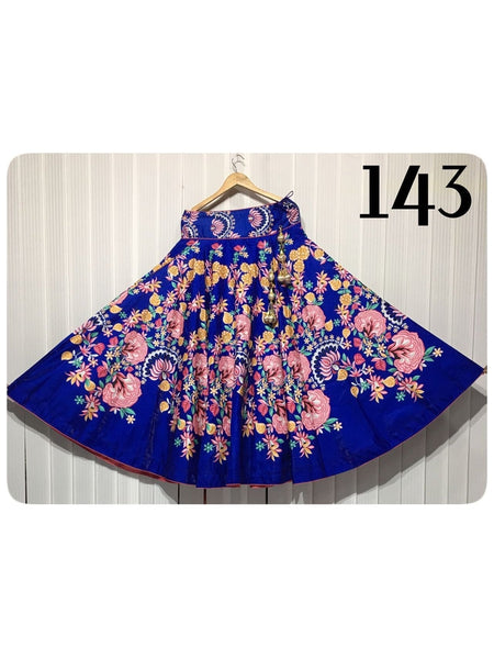 Beautiful Designer Printed Blue Color Banglori Satin Skirts