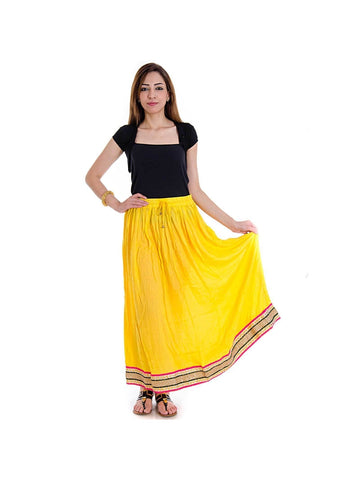 Yellow Base Rayon Cloth Lehanga Skirt