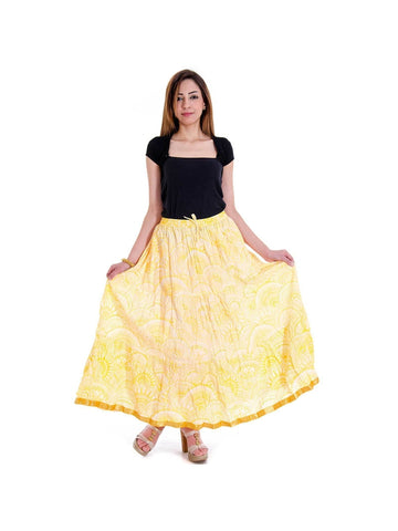 Fancy Yellow Abstract Pattern Design Girls Wrap Arround Skirt