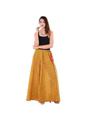 Halowishes Jaipuri Regular Fit Yellow Full Long Cotton Skirt