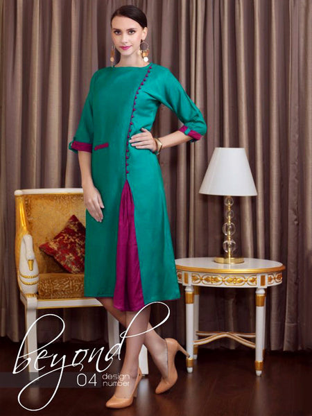 Teal Blue and Plum Rayon Kurti - PurpleTulsi.com  - 1