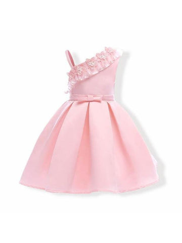 Inclined Shoulder Flower Pink Girls Party Dress
