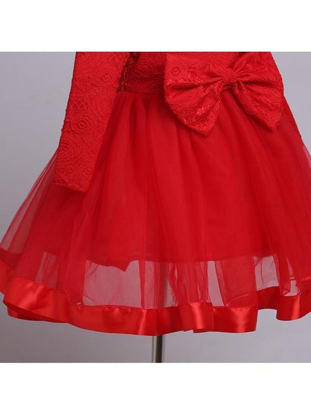 Long Sleeve Gauze Patch Bowknot Red Girls Party Dress