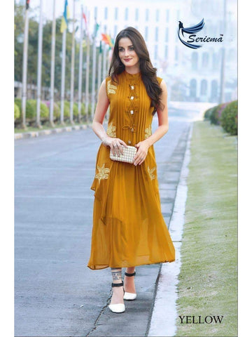 Designer Yellow Color Georgette Embroidered Work Sleeveless Straight Cut Kurti