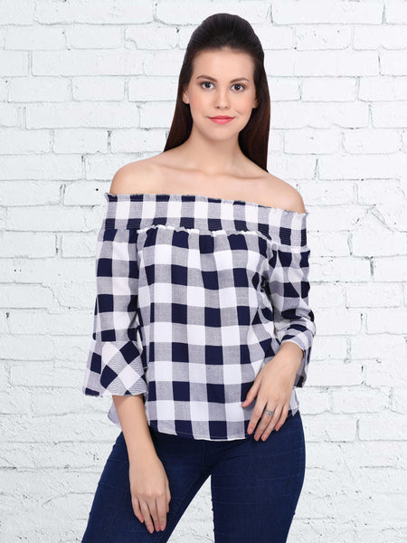 White and Blue Polyester Printed Top