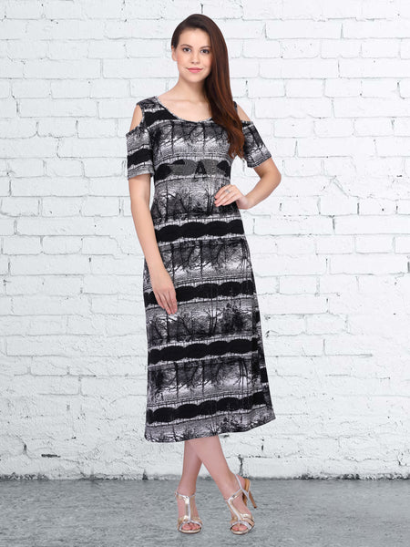 Black and White Polyester Digital Printed Dress