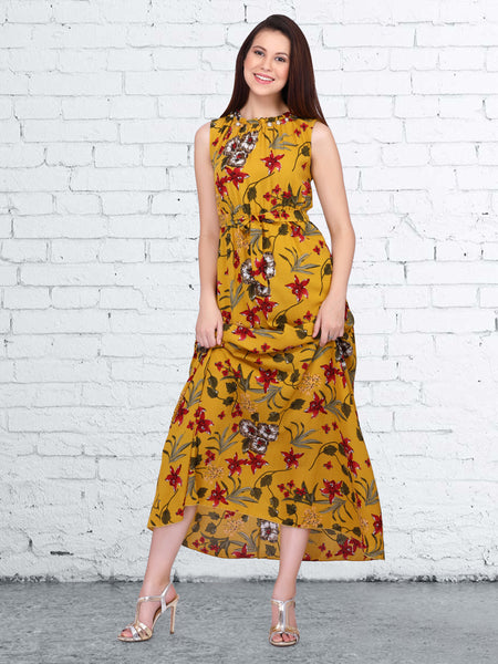 Mustard Rayon Digital Printed Dress
