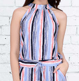 Multi Colored Striped Polyester Jumpsuit