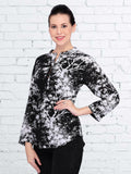 White and Black Rayon Printed Top