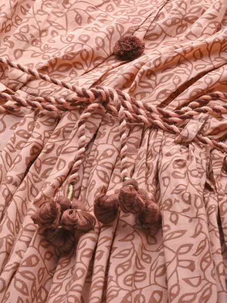 Peach-Color & Brown Printed Cotton Dress