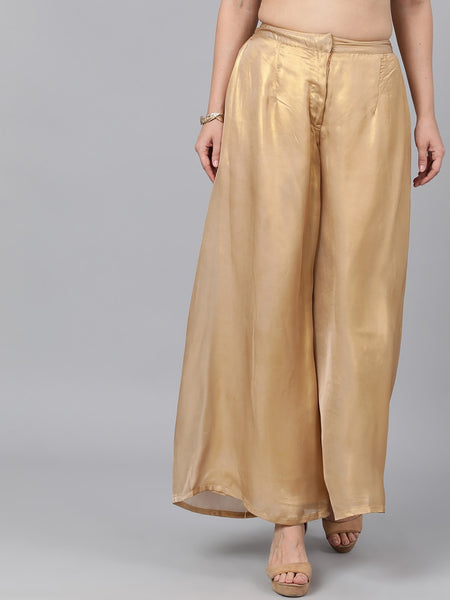Golden Flared Silk Blend Palazzo