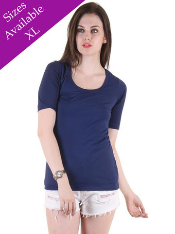 Trendy Plain Blue Top With Round Neck