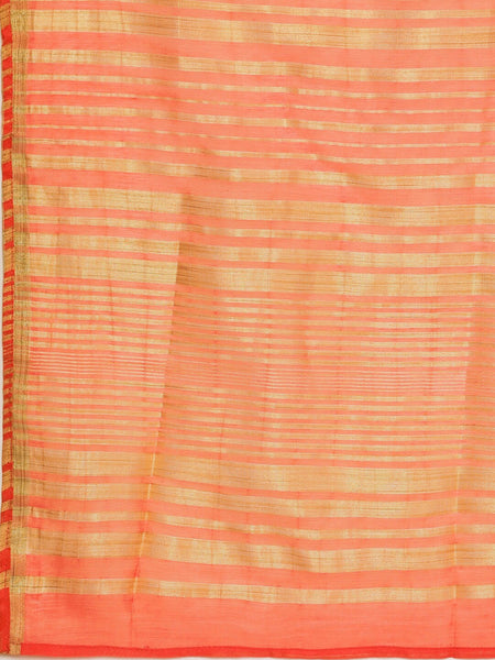 Coral Orange and Golden Striped Chanderi Silk Straight Cut Suit
