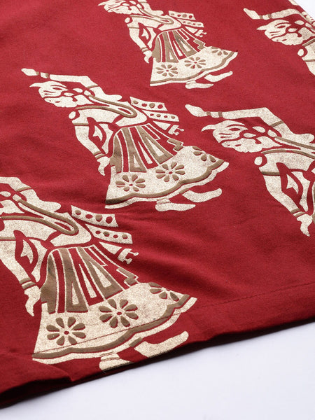 Beige & Maroon Printed Chanderi Silk Kurti with Palazzo