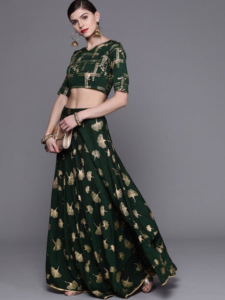 Green and Golden Printed Viscose Rayon Lehenga Choli