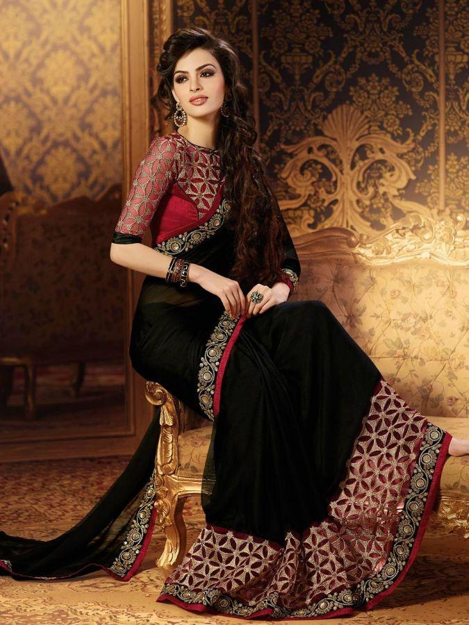 Designer Georgette Black Color Party Wear Saree
