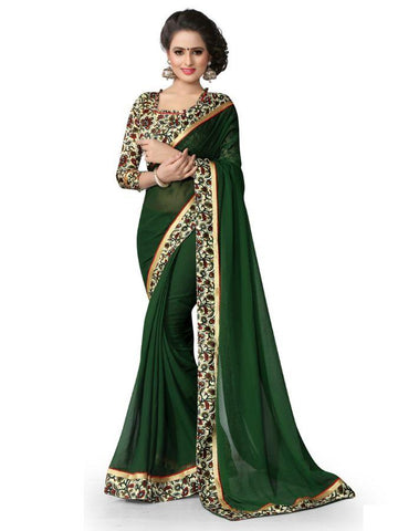 Designer Georgette Printed Green Color Casual Saree