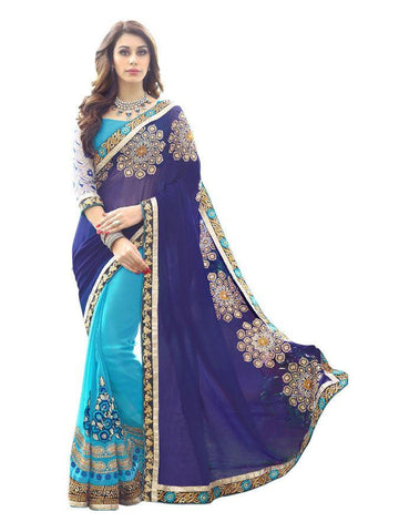 Designer Georgette Embroiderd Blue Color Party Wear Saree