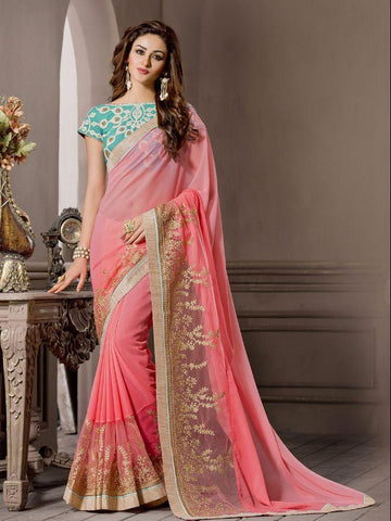 Designer Plain Georgette Pink Color Party Wear Saree