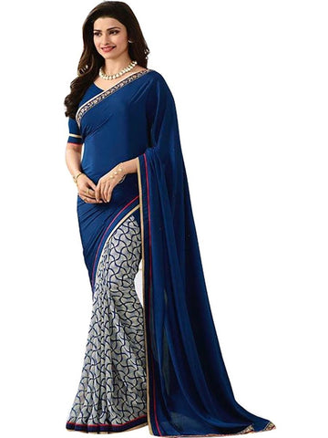 Designer Georgette Printed Designer Blue Color Party Wear Saree