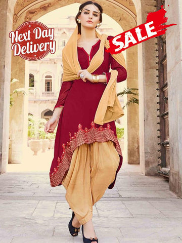 Red and Fallow Brown Patiala Suit 5a2e45783