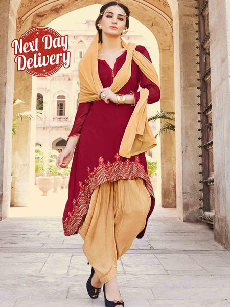 Red and Fallow Brown Patiala Suit