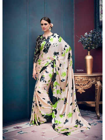 Beautiful Multi Color Japan Satin Saree with Embroidered Blouse