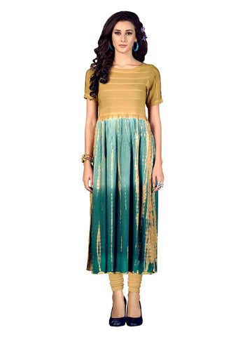 Designer Multi Color Heavy Rayon Ombre Print Long Straight Cut Kurti