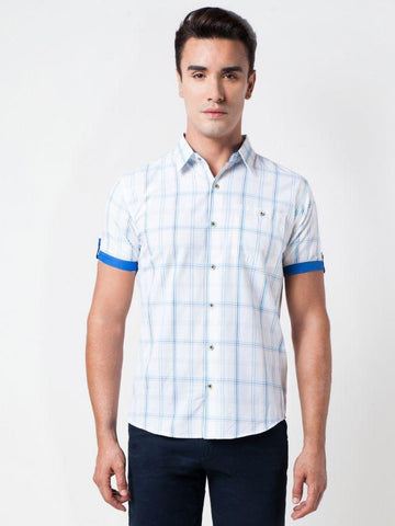 Checked Cotton Blue Formal Shirt