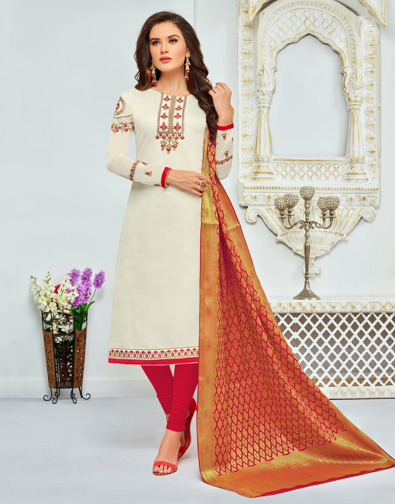 Cream Chanderi Modal Cotton Embroidered Straight Cut Suit
