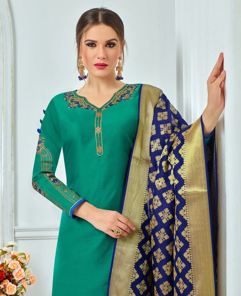 Green Chanderi Modal Cotton Embroidered Straight Cut Suit