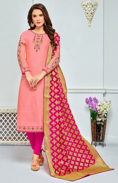 Peach Chanderi Modal Cotton Embroidered Straight Cut Suit