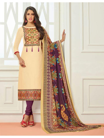 Designer Partywear Cream Color Embroidered Straight Cut Suit