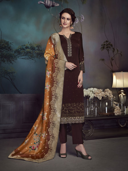 Designer and Beautiful Brown Color Straight Cut Suit