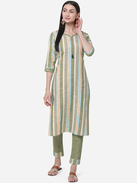 Multi Color Cotton Printed Kurti with Palazzo