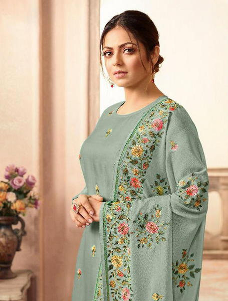 Sea Green Georgette Embroidered Straight Cut Suit