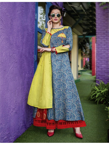 Beautiful Yellow and Blue Printed Heavy Rayon with Katha Cotton Kurti