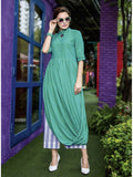 Beautiful Green Printed Heavy Rayon with Katha Cotton Kurti